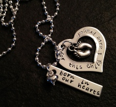 Born in my heart for this child I have prayed personalzied hand stamped necklace adoption