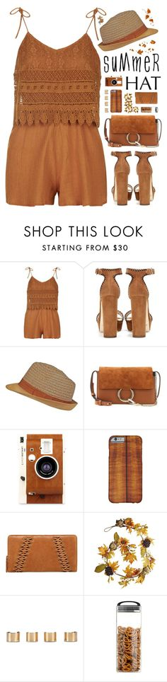 """""Top It Off: Summer Hats"" - Contest"" by arierrefatir ❤ liked on Polyvore featuring Topshop, Jimmy Choo, Chloé, LØMO, Lucky Brand, Pier 1 Imports, Maison Margiela, Prepara, summertrend and polyvorecontest"