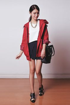 Chic Wish Parka, Apartment 8 Top, Mango Skort, Jeffrey Campbell Shoes, 3.1 Phillip Lim Bag, Emoda Necklace