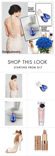 """Purple Bridal Jewelry (EstyloJewelry)"" by shambala-379 ❤ liked on Polyvore featuring Lancôme, Sophia Webster and tarte"