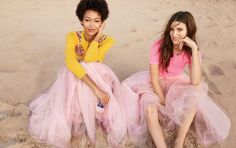 J.Crew women's tulle ball skirt, embellished cotton Jackie cardigan and new perfect-fit T-shirt.