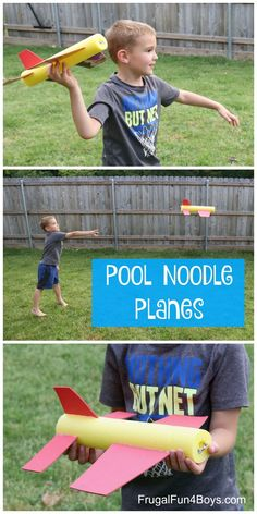 These pool noodle planes will really fly! - Frugal Fun For Boys and Girls - Kids Crafts & Activities - Pool Noodle Planes – Craft and STEM Activity. Build planes that really fly and learn about what - Summer Crafts For Kids, Fun Crafts For Kids, Summer Kids, Preschool Crafts, Kids Fun, Crafts For Camp, Fun Things For Kids, Easy Crafts, Neon Crafts