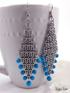 Long Byzantine Diamond Chainmaille Earrings with di GypsyGrove
