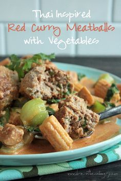 Thai Red Curry Meatballs (low carb and gluten free) - shared on https://www.facebook.com/LowCarbZen
