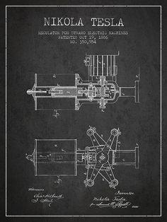 1886 Nikola Tesla Patent Print. #patentprints#patentart#patentartprints #agedpixel #tesla