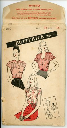 1940s Blouse Pattern Butterick 3612 Misses Day or Evening Blouse with Tucks Ruffles and Scallops Womens Vintage Sewing Pattern Bust 34. $32.00, via Etsy.