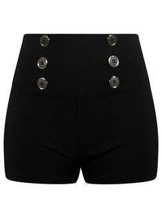 "Women's ""High Waist"" Retro Shorts by Double Trouble Apparel (Black) #InkedShop #retro #shorts #highwaisted #vintage #vixen #style"