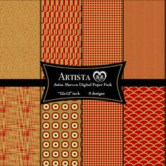 Asian Maroon Digital Scrapbook Paper Pack Goods by ArtistaQ8, $10.00