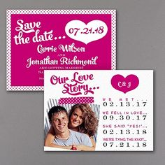 Tell your love story when you announce your wedding date! Your photo and a list of important dates are great additions to this romantic save the date card. Choose the colors to match your style.