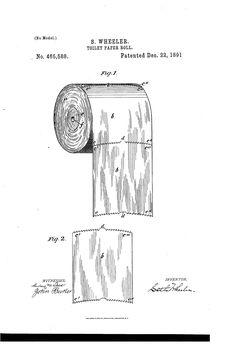 Patent US465588 - Toilet-paper roll - Google Patents Bathroom Posters, Bathroom Signs, Bathroom Art, Bathrooms, Modern Bathroom, Bathroom Lighting, Bathroom Ideas, Toilet Paper Patent, Toilet Paper Roll