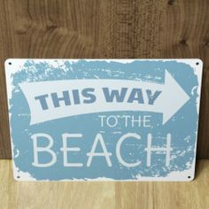 THIS WAY TO THE BEACH METAL PLAQUE BATHROOM WALL SIGN VINTAGE STYLE SHABBY CHIC | eBay