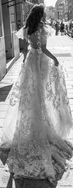 liz martinez 2018 bridal short handkerchief sleeves deep v neck full embellishment romantic soft a line wedding dress open back chapel train (6) blv -- Liz Martinez 2018 Wedding Dresses