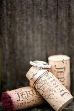 style me pretty - real wedding - usa - california - king estate vineyards wedding - jeriko estate - wedding rings - corks