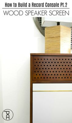 Speaker Screen How to update a custom wood record console and minibar with a patterned wood speaker screen.How to update a custom wood record console and minibar with a patterned wood speaker screen. Mini Bars, Woodworking Plans, Woodworking Projects, Diy Projects, Project Ideas, Wood Speaker, Diy Inspiration, Ikea Furniture, Furniture Projects