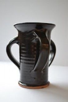 Three-handled cup- reproduction 17th century pottery made by hand at Plimoth Plantation