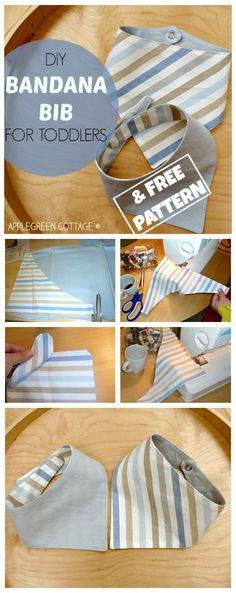 Sewing For Kids how-to make an easy BANDANA BIB - with a FREE template included! This tutorial is a perfect beginner sewing project! - This bandana bib pattern is free and an easy sewing project to sew an all-time favorite bandana bib for baby or toddler. Baby Sewing Projects, Sewing Projects For Beginners, Sewing Tutorials, Sewing Hacks, Sewing Tips, Sewing Ideas, Sewing Crafts, Love Sewing, Sewing For Kids