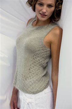 """SUMMER KNITTING -- """"Knitting with Linen Yarn"""" post by AmyPalmer. Knitscene highlights several linen and linen-blend projects. Some strand linen with other yarns: Here, the Bokeh Tank uses a strand of Silk Cloud to add a softer hand."""