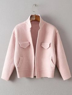 Pink Long Sleeve Jacket Sweater With Pockets