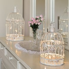 Small & Large Shabby Chic Bird Cage with Warm White Wire Light