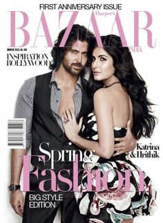 Hrithik Roshan, Katrina Kaif, Hrithik Roshan and Katrina Kaif, Harper's Bazaar Magazine March 2010 Cover Photo - India Cute Celebrities, Bollywood Celebrities, Bollywood Actress, Celebs, V Magazine, Vogue Magazine Covers, Katrina Kaif, Hrithik Roshan, Cosmopolitan