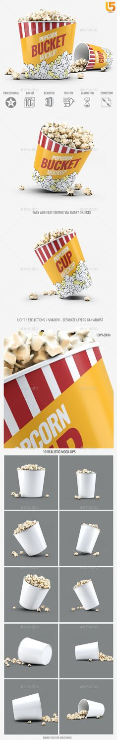 Popcorn Bucket & Cup MockUp  — PSD Template #inspiration #paper #blank • Download ➝ https://graphicriver.net/item/popcorn-bucket-cup-mockup/18640583?ref=pxcr