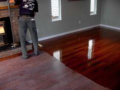 Dark grey walls with cherry floorboards                                                                                                                                                                                 More