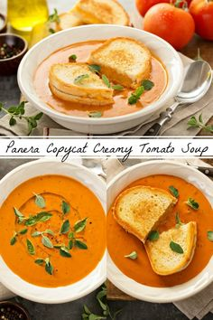 Tomato Recipes Panera Creamy Tomato Soup Copycat Recipe: this simple recipe is my families favorite creamy tomato soup when served with a big buttery grilled cheese sandwich! Tomato Soup Recipes, Easy Soup Recipes, Vegetarian Recipes, Cooking Recipes, Simple Recipes, Tomato Bisque Soup, Creamy Tomato Basil Soup, Simple Tomato Soup, Eating Clean