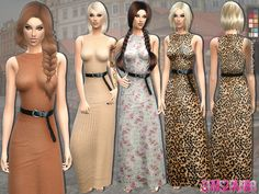 The Sims Resource: 139 - Long dress with belt by sims2fanbg • Sims 4 Downloads