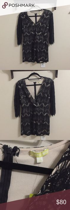 """Gianni Bini Lace Overlay Romper This is brand new. I am 5'7"""" and it never fit me quite right because my torso is too long. It has nice give and stretches over your curves the sleeves hit me just below the elbow. There is a small snap by the bust so your bust does not hang out. Gianni Bini Dresses Mini"""