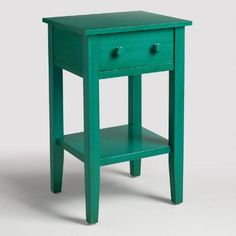 Our teal blue wooden end table is simple yet chic, and ready to be personalized. Whether your style is classic or modern, sophisticated or fun, choose from our exclusive assortment of decorative drawer hardware to create a look all your own.