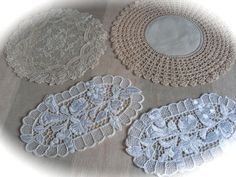 Vintage Linen Tablecloth Crochet Napkins Antique by Mydaisy2000