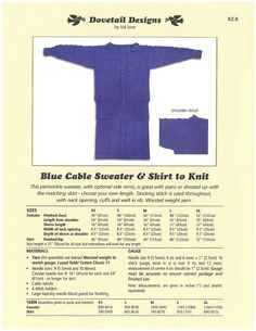 Blue Cable Sweater & Skirt to Knit - Dovetail Designs K2.8