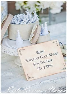 Bubble favors at a  Shabby Chic Wedding.  See more party ideas at CatchMyParty.com.  #tweddingideas