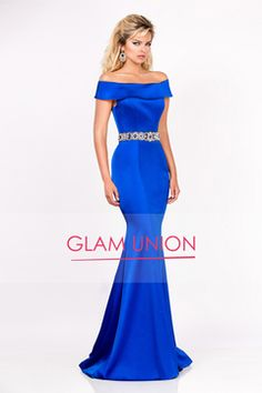 2016 Mermaid Boat Neck Beaded Waistband Prom Dresses Sweep Train Stretch Satin
