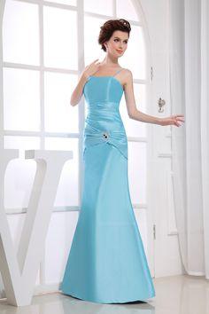 Romantic chiffon dress with bateau neckline and spaghetti straps  Trumpet/Mermaid,Floor Length,Spaghetti Straps,Natural,Sleeveless,Beading,Pleats,Zipper,Taffeta,Summer,Fall,  US$154.98