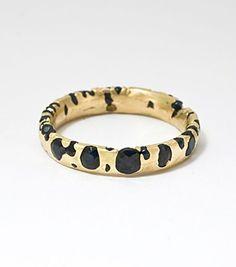 Catbird::Polly Wales::Narrow Band - black sapphires, yellow gold