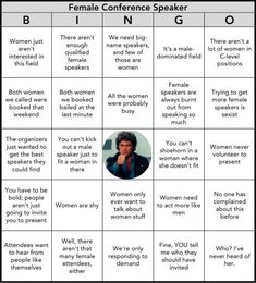 Bullshit bingo card for why a conference organizer claims it did not include a balance of female [or other often neglected voice] speakers