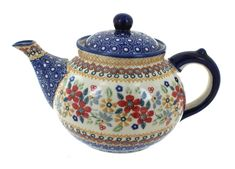 Red Daisy Teapot - Blue Rose Polish Pottery