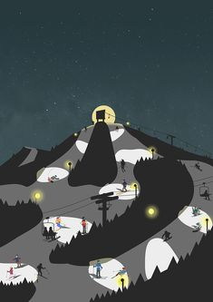 #ski #snowboard #nightski #winter #nightski #skiresort #스키 #스노우보드 #야간스키 #겨울 #일러스트 #イラスト Skiing, Night, Illustration, Movie Posters, Movies, Ski, Films, Film Poster, Cinema