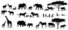 Africa animals t Afrika Tattoos, Little Christmas Trees, Tree Silhouette, Pet Birds, Savannah Chat, Vector Art, Avengers, Moose Art, Royalty Free Stock Photos