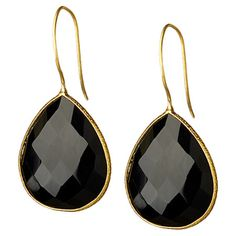 18K Gold Clad Black Onyx Teardrop Earrings