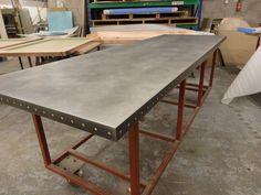 Https://flic.kr/p/223dKPC   Zinc Table Top Light Patina Finish With Copper  Rivets  