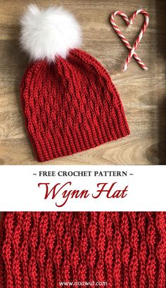 A free crochet pattern of the Wynn Hat. Do you also want to crochet the Wynn Hat? Read more about the Free Crochet Pattern Wynn Hat. Crochet Santa Hat, Bonnet Crochet, Crochet Beanie Pattern, Knit Or Crochet, Crochet Scarves, Crochet Crafts, Crochet Baby, Crochet Projects, Crochet Patterns