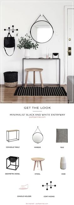 absolutely stunning minimalist black and white entryway is so scandi-chic! Learn what you need to recreate this space on a small budget! All you need are 8 products to get your hallway or entry space looking top notch just like this one! Black And White Hallway, Black And White Interior, Black White Decor, Black And White Living Room, Simple Interior, White White, Interior Styling, Interior Design Living Room, Living Room Decor