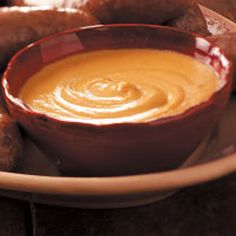 Harry's Hot Mustard Recipe -Perfect for dipping pretzels or accompanying cooked sausage, this hot mustard delivers a serious kick. If you like spicy foods, this is one you'll use time and again. Spicy Recipes, Appetizer Recipes, Cooking Recipes, Appetizers, Red Gravy, German Sausage, Mustard Recipe, Oktoberfest Food, Pretzel Dip