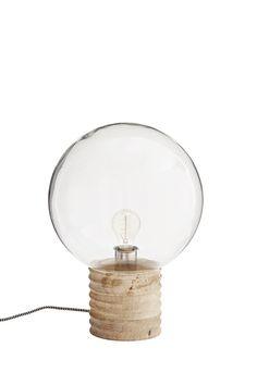 Bordslampa, glas/trä - Madam Stoltz - hemlangtan.com