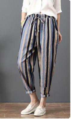 Shop Here For More Loose Casual Linen Dress, Ramie Cotton Dress,Kaftan,National Clothing.Loose Corlorful Stripe Lace-up Pants Fashion Pants, Fashion Outfits, Womens Fashion, Fashion Top, Fashion 2017, Comfy Pants, Men's Pants, Harem Pants, Linen Trousers