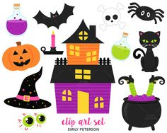 SALE Happy Halloween Witch Black Cats  Cute by EmilyPetersonStudio