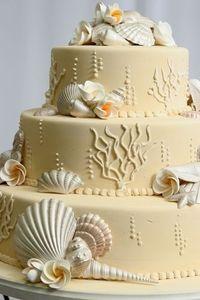Sea Shell Beach Wedding Cake 3 Layers #weddings #weddingcake #bridal