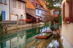 Le Petit Venice during the rain in Colmar, France